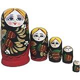 Dolity 5PCS Strawberry Girls Wooden Russian Nesting Dolls Babushka Matryoshka Toys