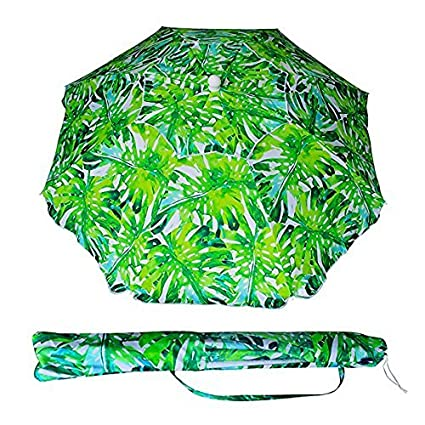 AMMSUN 6.5ft Beach Umbrella UV Protection with Telescoping Pole Adjustable Height with Air Vent Tilt Carry Bag