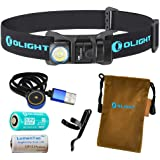 OLIGHT H1R 600 Lumens Rechargeable LED Headlamp (Choice Three Color Headbands) w RCR123A Battery, Magnetic USB Charging Cable LumenTac CR123A Battery