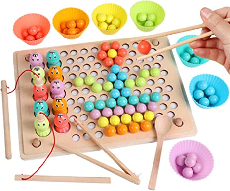 XMY Juguetes de Madera Juegos magnéticos de Pesca, Juegos de Mesa de Color Preescolar Digitales, Aprendizaje Muchacha del Muchacho cumpleaños del niño 345 años de Edad -22.5 * 30 * 1.2cm: Amazon.es: