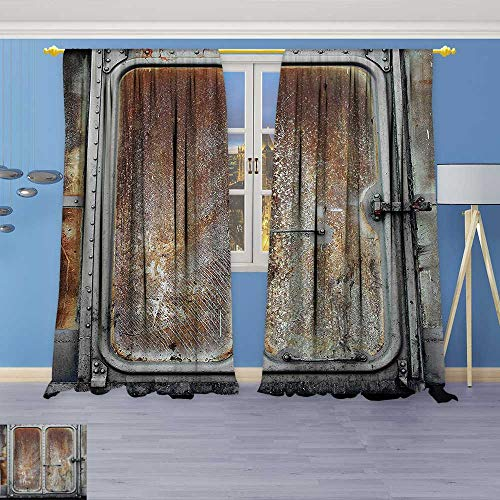 Philiphome Blackout Room Darkening Curtains Vintage Railway Container Door Metal Old Locomotive Transportation Iron Power Design Grey Brown Window Panel Drapes Grommet Top