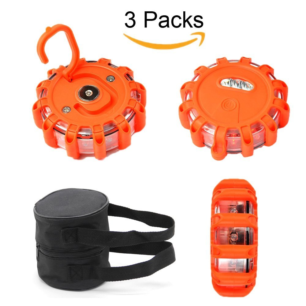 Set of 3 Road Flares Waterproof Lantern Red Safety Warning Light Emergency Flashing Lights with Hook & Magnetic Base, 3 White LED, 12 Red LED
