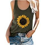 Tank Tops for Women Plus Size Loose Fit Sunflower Print Crew Neck Funny Cute Graphic T-Shirts Sleeveless Tee Tops
