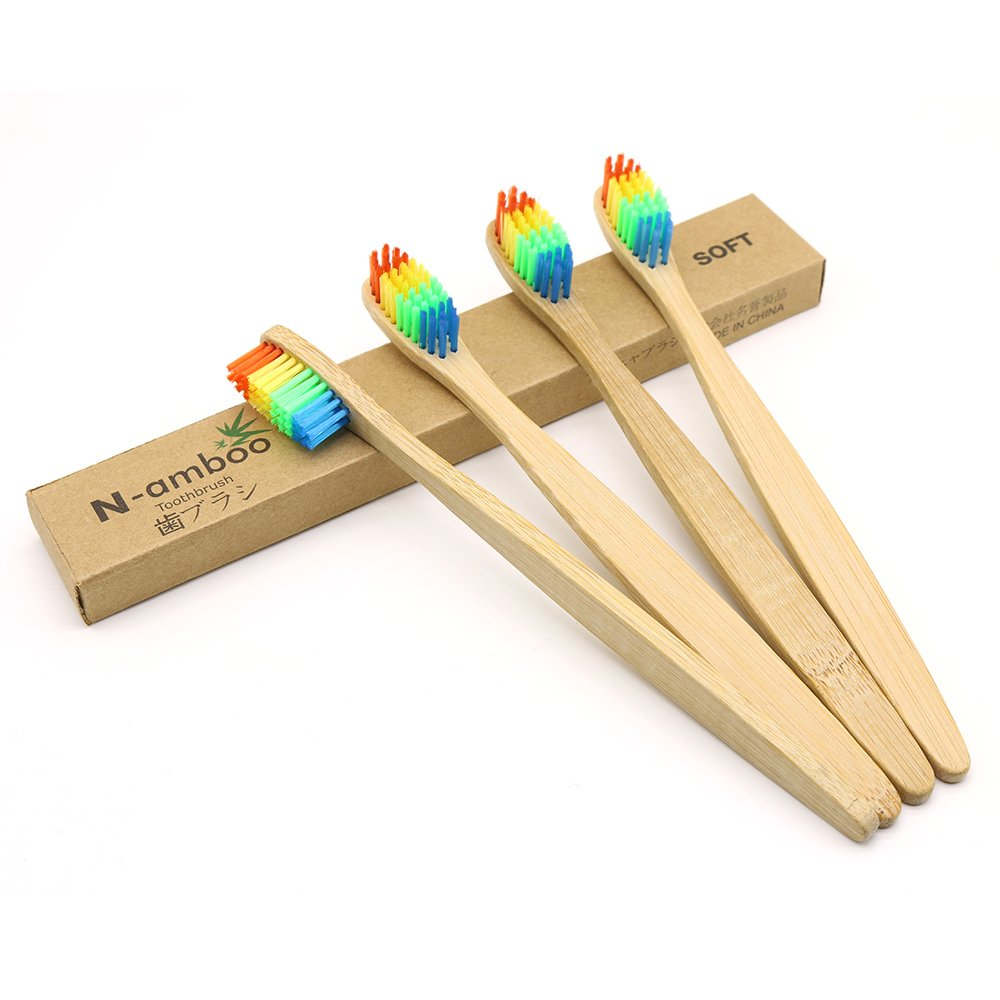 4 Pieces N-amboo Bamboo Toothbrush Soft Colorful Bristles Manual Toothbrush Adult Toothbrushes Natural Bamboo Eco-friendly namboo