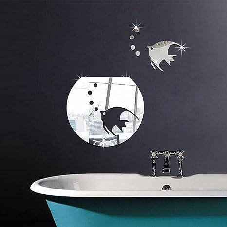 Acrílico Pegatinas De Pared Pez Pecera Extraíble Espejo Pegatina Sala De Estar Creativo Decoración Del Hogar