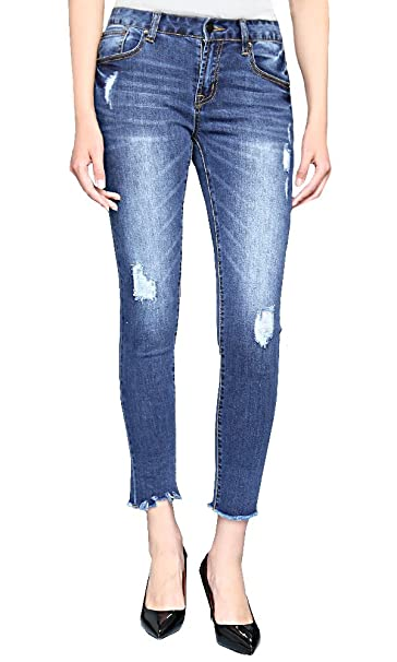 d473285d005 WESTREE Mid-Waisted High Elastic Ripped Holes Skinny Jeans Wash Blue ...