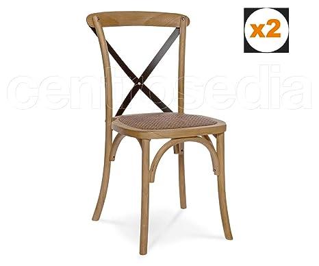 Sedie Stile Windsor : Centrosedia set di 2 sedie cross in legno con stecche di ferro e