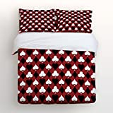 4 Piece Full Size Bedding Set Wine Red Poker Pattern Color Design Christmas Snowman Duvet Cover Set Bedspread for Childrens/Kids/Teens/Adults