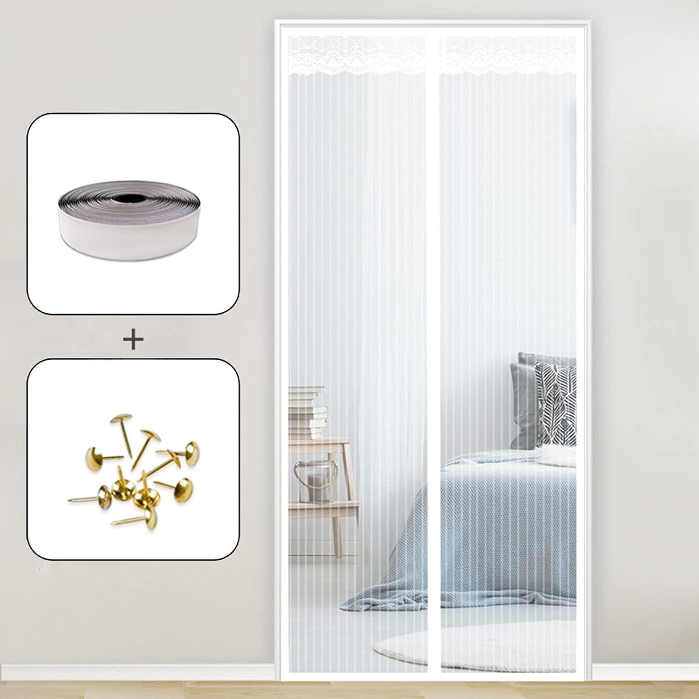 AMZERO Cortina Mosquitera Magnetica, 115x205cm Mosquiteras Enrollables Magnética Automático Cierra Automáticamente para Puertas Correderas/Balcones/Terraza, Blanco
