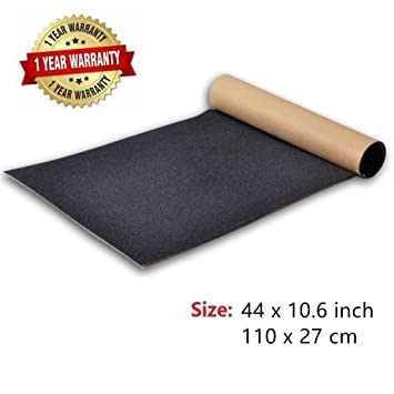 COSOOS Skateboard Grip Tape Sheet 44x10.6 Inch, sin Burbujas, Impermeable, Negro