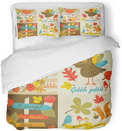 Amazon Com Tarolo Bedding Duvet Cover Set Orange Baby Thanksgiving Day In Autumn Flowers Leaves Nuts Turkey Forest Cartoon Yellow Gobble 3 Piece Queen 90 X90 Quilt Cover With Zipper Closure Home Kitchen