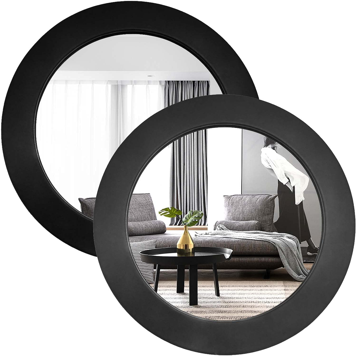 Wocred Mirror (Black 2 PCS, 12 inch) Wocred Black Round Mirror for Wall Decor, Elegant Leather Wall Mirror, 2 pcs Entry Mirror for Entryways, Washrooms, Living Rooms and More (Black, 12