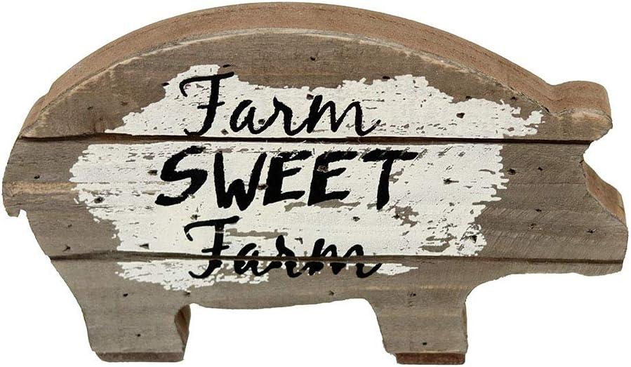 Parisloft Farm Sweet Farm Wood Pig Tabletop Decor, Carved Pig Statue Home Decor, Animal Sculpture Decorations