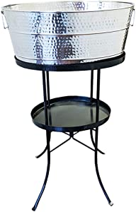 BREKX Aspen Hammered Stainless-Steel Beverage Tub, Rust-Resistant and Leak-Proof Ice and Drink Bucket with Metal Stand, 25-Quart