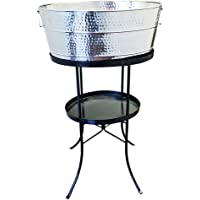 BREKX Aspen Hammered Stainless-Steel Beverage Tub, Rust-Resistant and Leak-Proof Ice and Drink Bucket with Metal Stand…