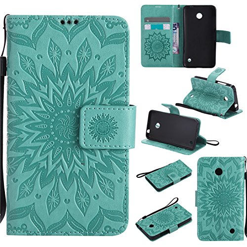 Aipyy Nokia 630/635 Case,[Slim][Card Slot] Wallet Style Folio Flip PU Leather Emboss Sunflower Case Magnetic Closure Kickstand Cover with Wrist Strap for Nokia Lumia 630/N630/635/N635 - Nokia For Cases Girls Phone 635
