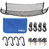 #8: Cargo Net for SUV,Truck Bed or Trunk, 41 x 25 Inches Elastic Nylon Mesh Universal Rear Car Organizer Net, with Bonus Free Hooks by SNBLO