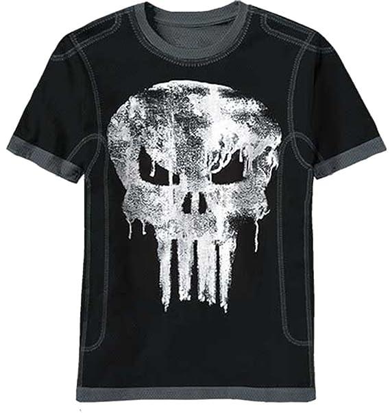 fdc5c7d4b Amazon.com: Marvel Comics Punisher Dripped Skull Mens Black T-Shirt ...