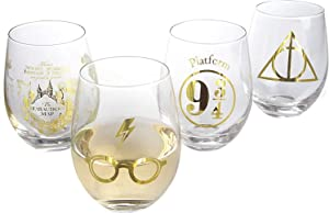 Harry Potter Stemless Wine Glasses, Set of 4 - Gold Harry Potter Symbols and Designs - Glass - 17 oz