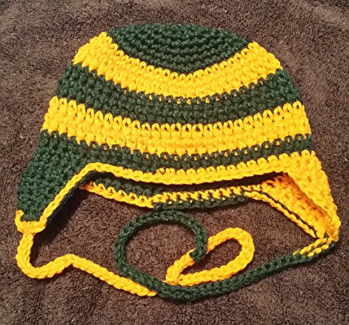 Hand Crocheted Baby to Toddler Football Helmet Style hat with ear flaps and ties (Green Bay, Oregon, Baylor, Alaska, North Dakota (Siena Hat)