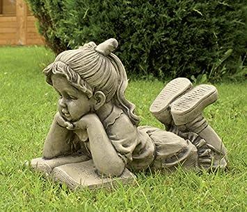 CATART Figura Decorativa niña Leyendo en hormigón-Piedra para el jardín Exterior 50X36cm.: Amazon.es: Jardín