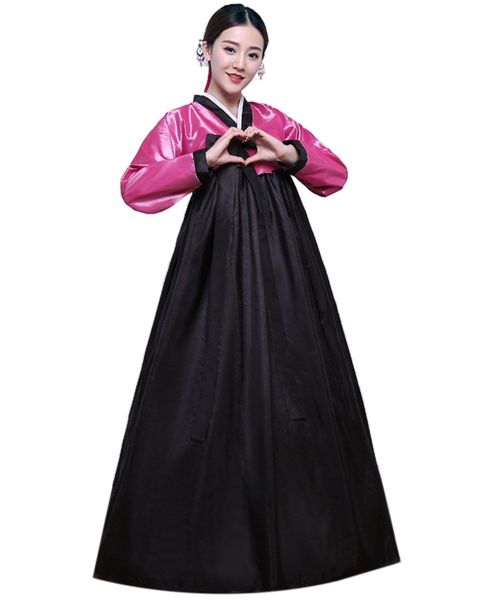 Lemail Womens Korean Hanbok Dress Long Sleeve Korean Traditional Costume Pink&black S