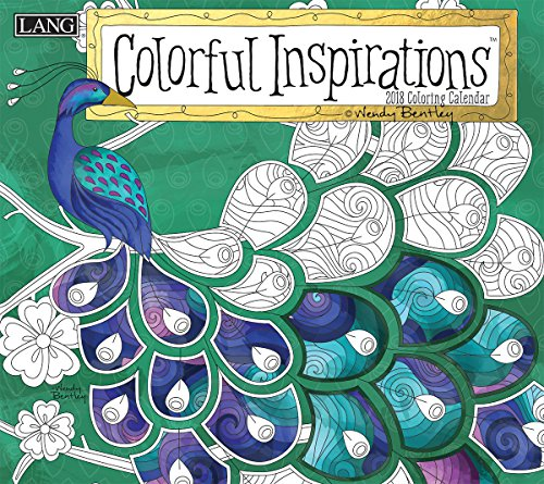 "LANG - 2018 ""Coloring"" Wall Calendar - ""Colorful Inspirations"", Artwork by Wendy Bentley - 12 Month, Open Size 13.4"" X 24"""