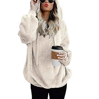 chengzhijianzhu_Women Shirts Tops Women Warm Fluffy Winter Top Hoodie Sweatshirt Ladies Hooded Pullover Jumper at Amazon Womens Clothing store: