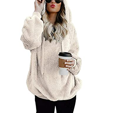 Robemon Sweat-Shirt Femmes Tops Fashion Ladies Coton Laine Hiver pour Poche  Polaire Pull Long fd54a67d2ab