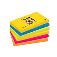 Post-it 6556SR 76 x 127 mm Super Sticky Notes, Rio Colour Collection, 6 Pads (90 Sheets Per Pad)