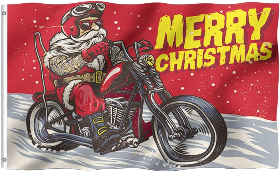 Tititex Merry Christmas Cool Santa Clous Garden Flag 3x5 Ft Motorcycle Party, Double Stitched with Brass Grommets for Outdoor Indoor Home Decor