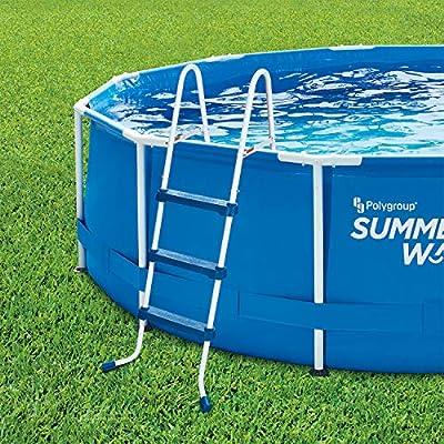 Summer Waves 36 Inch SureStep 3 Step Heavy Duty Steel Outdoor Above Ground Swimming Pool Ladder : Garden & Outdoor
