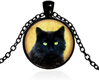 Black Cat on Dichroic Background Small Pendant Necklace