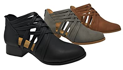 Women's Ankle Bootie Woven Strappy Weeve Criss Cross With Low Chunky Heel