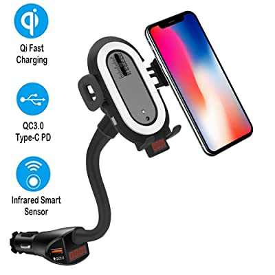 Qi Wireless Car Charger Cigarette Lighter Mount, Car Charger with PD and QC 3.0 for Nintendo Switch, Phone Holder Compatible with iPhone 11 Pro XS X XR 8, Samsung Galaxy S10 S9 S8 Plus Note 10 9 8