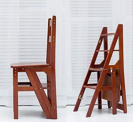 Escalera plegable Taburete para silla Escalera de escalera Taburete de escalera Escalera doméstica Escalera de almacenamiento de múltiples capas Soporte de flores de doble uso (Color: Nogal claro): Amazon.es: Hogar