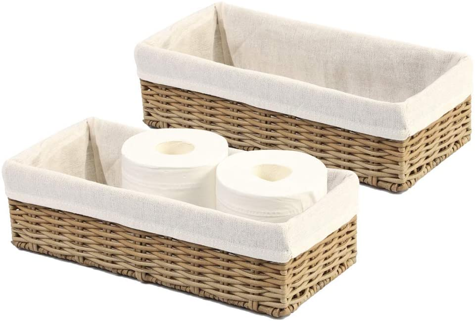 Amazon Com Hosroome Bathroom Storage Organizer Basket Bin Toilet Paper Basket Storage Basket For Toilet Tank Top Decorative Basket For Closet Bedroom Bathroom Entryway Office Set Of 2 Beige Kitchen Dining