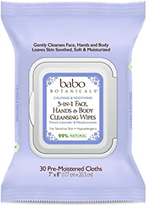 Babo Botanicals Calming 3-in-1 Face, Hand & Body Wipes with French Lavender and Organic Meadowsweet, for Babies, Kids or Sensitive Skin - 30 ct.