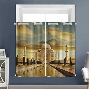 "Linhomedecor Insulating Darkening Curtains Taj Mahal Photography Grommets Home Darkening Curtains Room/Bedroom Multicolor (1 Pair, 27.5"" Width x 39"" Length Each Panel)"