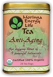 Moringa Anti-Aging Tea - USDA Organic - Age Defying Blend of 9 Powerful Botanical Herbs