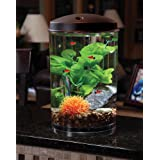 Koller Products AquaView 3-Gallon 360 Aquarium with LED Lighting (7 Color Choices) and Power Filter, 10.25 x 10.25 x 14.5