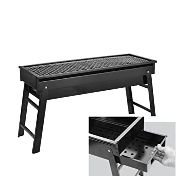 Nclon Parrilla plegable portátil de madera de carbono para barbacoa, rejilla de carbón, cajón
