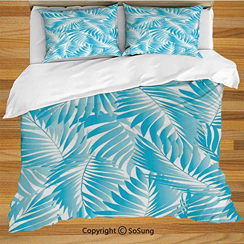Leaves Queen Size Bedding Duvet Cover Set,Miami Style Tropical Aquatic Palm Leaves with Exotic Colors Summer Beach Decorative Decorative 3 Piece Bedding Set with 2 Pillow Shams,Turquoise Aqua Blue