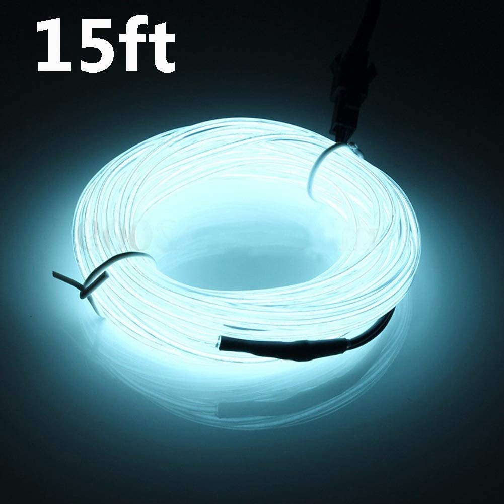 Dupelec 9ft Neon LED Light Glow Tube, Flxible EL Wire, Waterproof Led Strip Lighting Cable,for Halloween Christmas Car Parties Wedding Outdoor Decoration +Battery Controller(Red,Blue,Green,White)