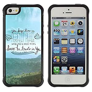 All-Round Hybrid Rubber Case Hard Cover Protective Accessory Compatible with Apple iPhone 5 & 5S - religion Christian quote bible Christ