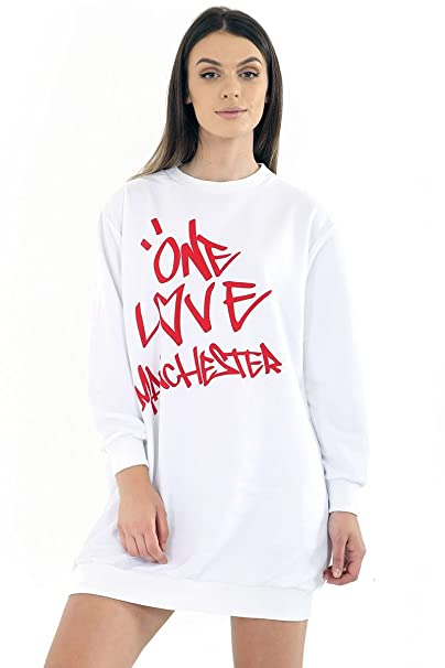 Womens Oversized Baggy Loose Fit Every One Love Manchester Sweatshirt Dress:  Amazon.co.uk: Clothing