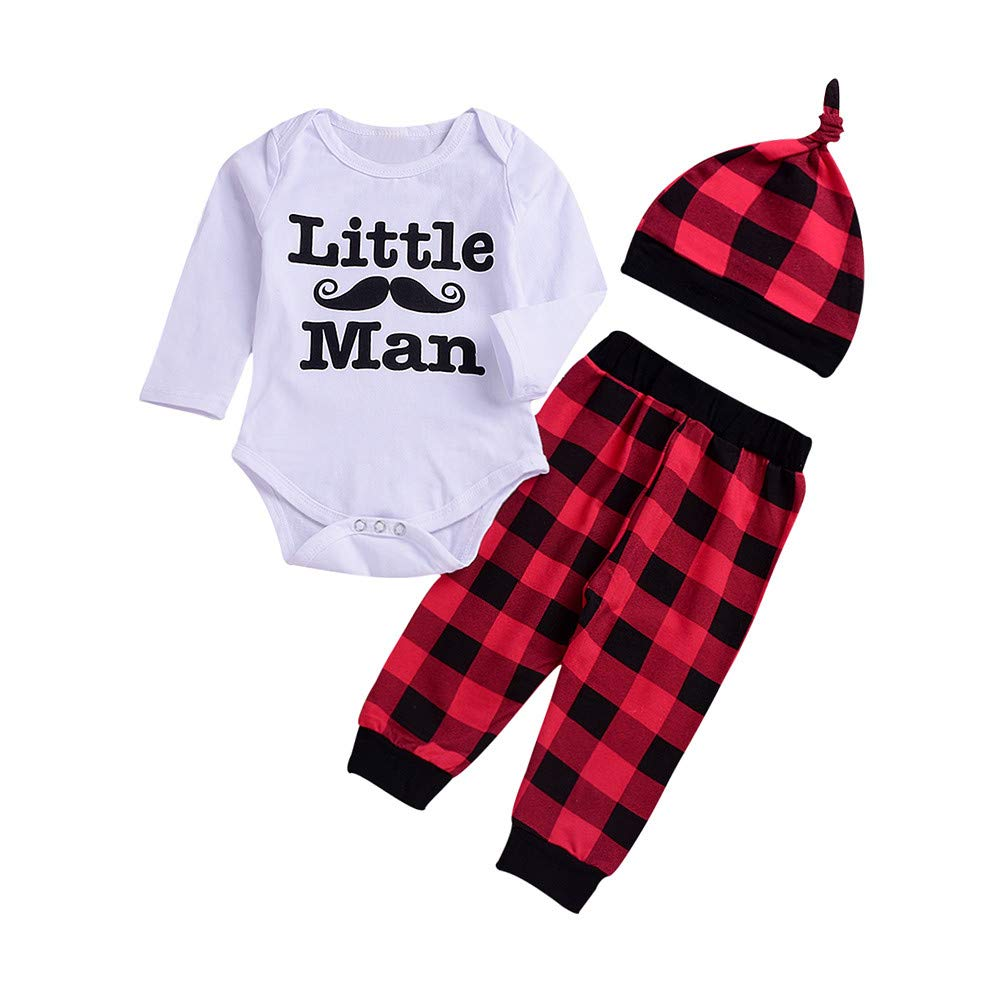 Tronet 3PCS Toddler Baby Boys Girls Casual Letter Print Romper+Pants+Hat Set Outfit Clothes (White 1, 100(Age:18-24Months))