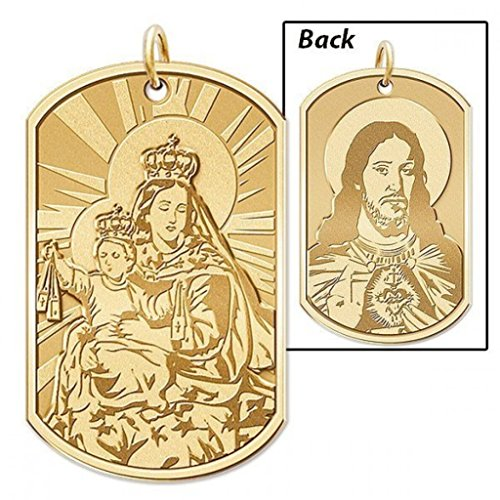 Scapular Double Sided Dog Tag Religious Medal - 3/4 Inch X 1-1/4 Inch - Solid 14K Yellow Gold 14k Yellow Gold Scapular Medal
