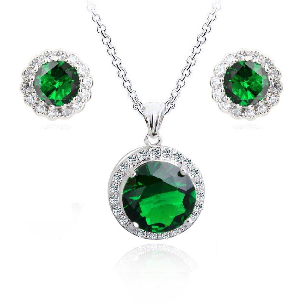 Verde smeraldo simulato Cristalli austriaci di zirconi Rotondo Purare Collana con ciondolo 45 cm Orecchini a lobo 18 kt placcato oro bianco