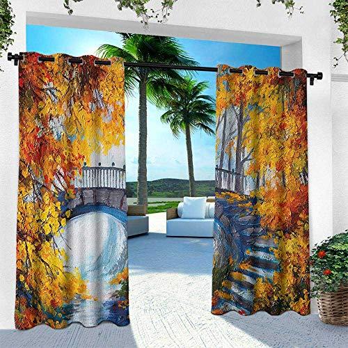 Hengshu Art, Outdoor Curtain Waterproof Rustproof Grommet Drape,Autumn Forest with A Bridge Over Road Dramatic Season Shady Leaves Print, W120 x L108 Inch, Marigold Vermilion Blue